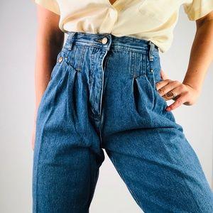 [Vintage] High Rise Ruched Pleat Front Denim Pant